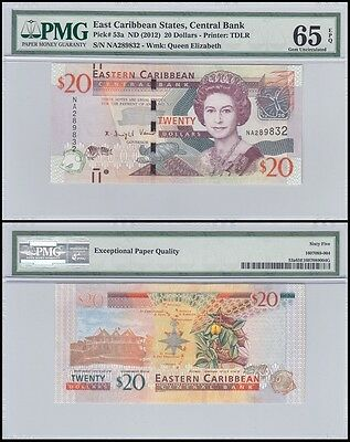 East Caribbean States 20 Dollars, ND 2012, P-53a, UNC,Queen Elizabeth,PMG 65 EPQ