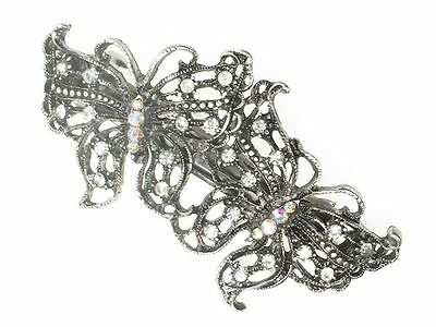 Antique Vintage Silver Crystal Butterfly Barrette Bridal Hair Clip Slide Grip