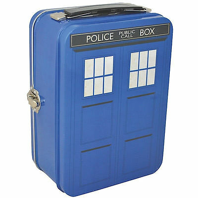 New Tardis Tin Tote Lunch Box Retro Kids Official Doctor Who School Gift Dalek