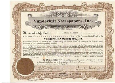Vanderbilt Newspapers Inc. 1924    U: Cornelius Vanderbilt Jr.