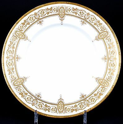 12 Minton Art Nouveau Gilded Plates: gold encrusted, gilt, gold beading