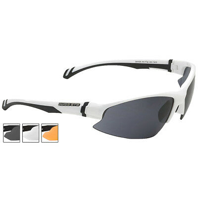 Swiss Eye Flash Cycling Sunglasses Smoke Orange Clear Lenses White Shiny Frame