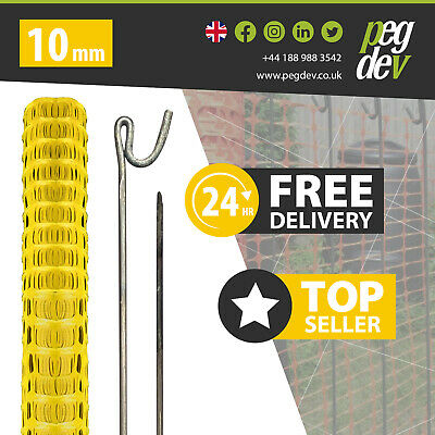 Yellow Plastic Barrier Safety Mesh Fence Event Net Netting 50Mtr +10 Metal Pins