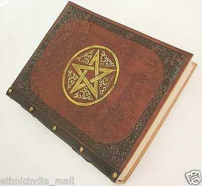 Handmade Leather Journal LARGE Blank Book of Shadows Pentagram Diary Wicca Pagan