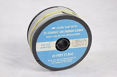 25' Feet Roll of Archer Radio Shack 25 Conductor Flat Ribbon Cable Wire 278-773