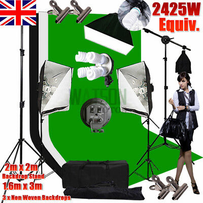 ☆1250W Studio EASY Softbox Continuous Lighting Photo Soft Box Light Stand Kit ☆