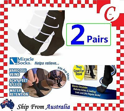 2Prs Compression MIRACLE SOCKS Aching Feet Varicose Veins Flight Travel Fatigue