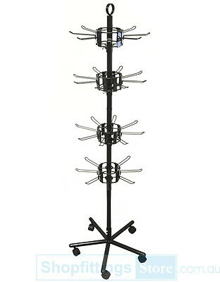 Spin-X Spinner Stand 4 layers x 8 Loop Hooks 150mm Black