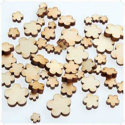 50× Wooden Mini Mixed Wood Flowers 5 Petal V1 Craft Card Making Scrapbooking