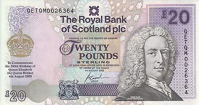 British Royal Bank of Scotland 20 pounds (2000) P-361 Queen Mother  UNC