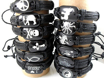 36pcs mixed 12 styles leather men's fashion bracelets jewelry lots wholesale
