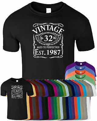Vintage Est Age 1987 Age To Perfection Mens T-shirt 31st Top Tee Gift T Shirt