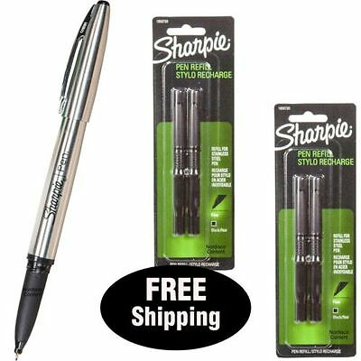 Sharpie Stainless Steel Pen 1800702 With 2 Packs Refills, Black Ink, Fine Point