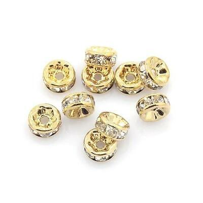 Brass Plain Rondelle Beads 3 x 6mm Pale Gold 10 Pcs Art Hobby Jewellery Making