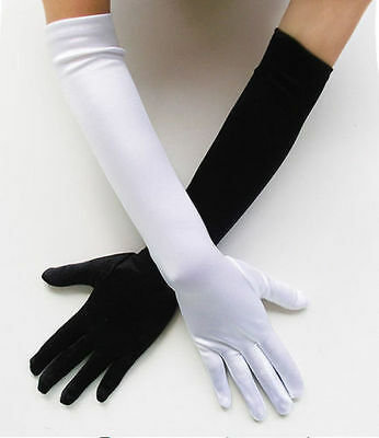 Long stretch satin Evening wedding Accessory dance new White elbow Finger gloves
