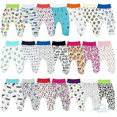 Printed Baby Girls Boys Leggings Trousers With Feet 0-18 Months 100% Cotton