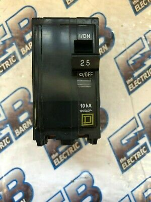 Square D QO225, 25 Amp 240 Volt 2 Pole Circuit Breaker, Yellow- Warranty