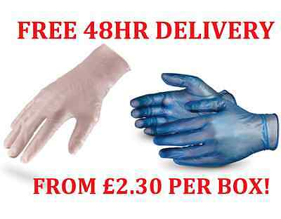 100 POWDER FREE - VINYL CLEAR OR BLUE DISPOSABLE GLOVES Multi Work Examination