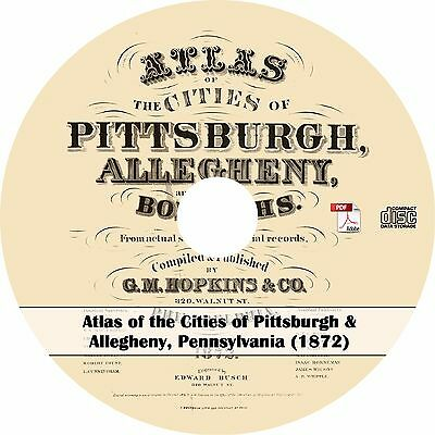 1872 Atlas of the Cities of Pittburgh & Allegheny, Pennsylvania - Maps Book  CD