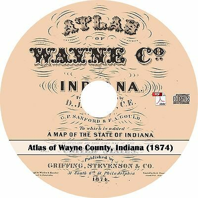 1874 Atlas of Wayne County, Indiana - IN History Plat Maps Book on CD