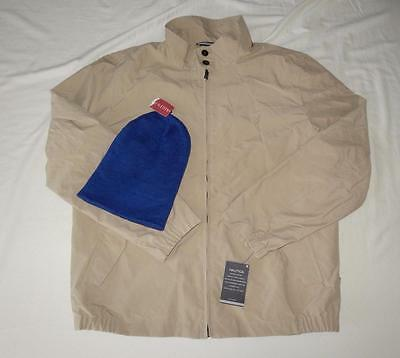 Lot New Men's Nautica Khaki Jacket Size L & Merona Blue Beanie - NWT