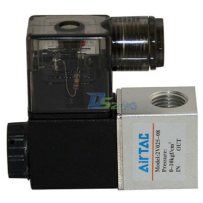 """1/4"""" AC 24V 2 way 2 position Pneumatic Electric Solenoid Valve NPT Water Air Oil"""
