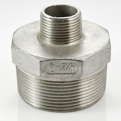 "2""x3/4"" Male Hex Nipple Threaded Reducer Pipe Fitting Stainless Steel 304 NPT"