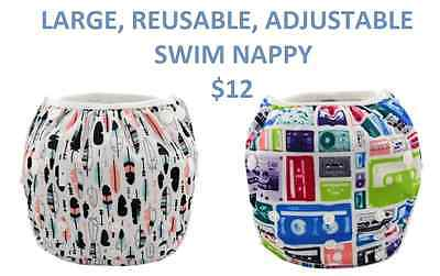 SWIM NAPPY Baby Reusable Multifit Large - Toddler Nappies Cover BOY GIRL 8-25kgs
