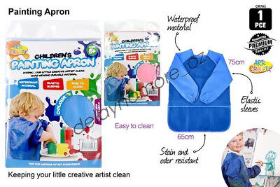 1x Kids Art Smock Waterproof Apron Long Sleeve Painting Craft Cooking Girls Boys