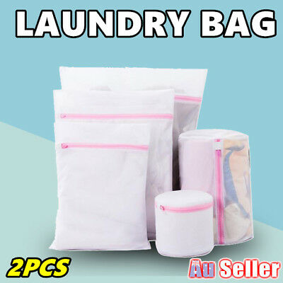 2x Laundry Wash Bag Washing Aid Zipper Mesh Clothes Bra Delicate Large S M