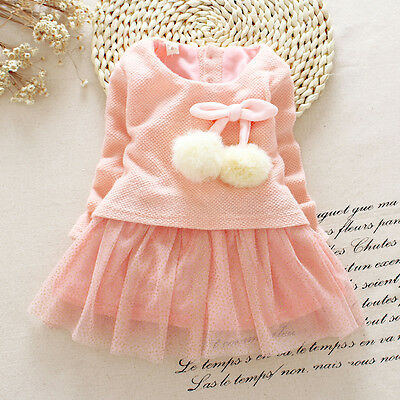 Newborn Baby Girls Dress Knit Sweater Tops Lace Bowknot Dresses Clothing 0-24M