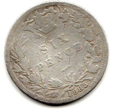 1885 6d Silver SIXPENCE six pence Queen Victoria (a)