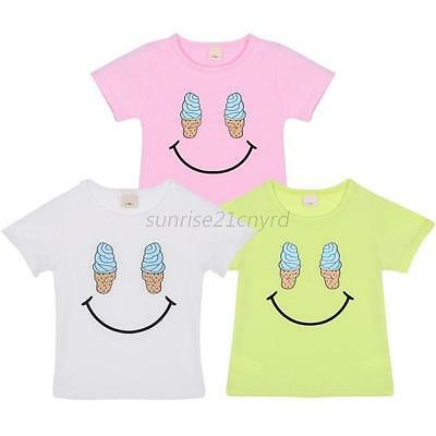 Kids Baby Boys Girls Smile Summer Short Sleeve Pullover Casual T-shirt Tops