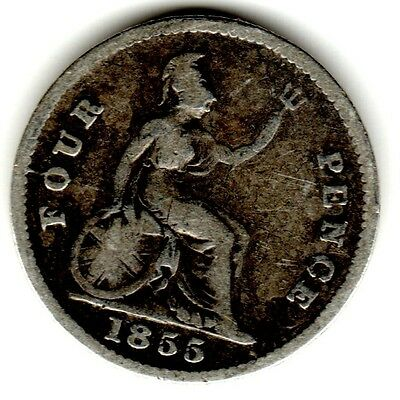 1855 4d Silver FOURPENCE four pence Groat Queen Victoria Young Bun Head
