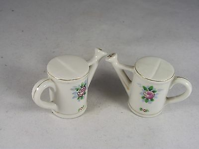 Vintage Japan Collectible Miniature Ceramic Watering Can Salt And Pepper Set Exc
