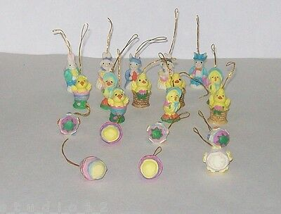 Lot of 20 Miniature Resin Easter Tree Ornaments Bunny Rabbit Egg Chick Ornament