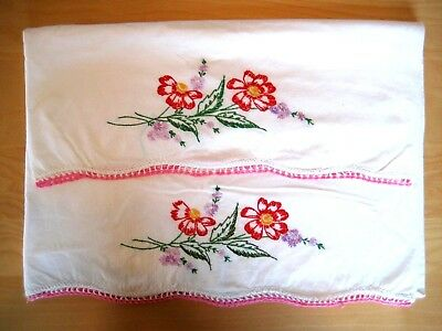 Vintage Hand Embroidered & Crochet Trim 'FLOWERS' red Pillow Cases  XLNTC