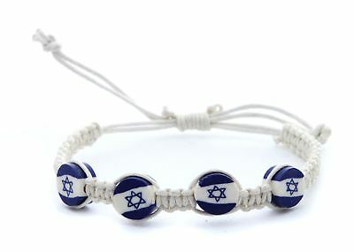 White Braided Bracelet Lucky Charm Jewelry Star of David Israel flag pendant