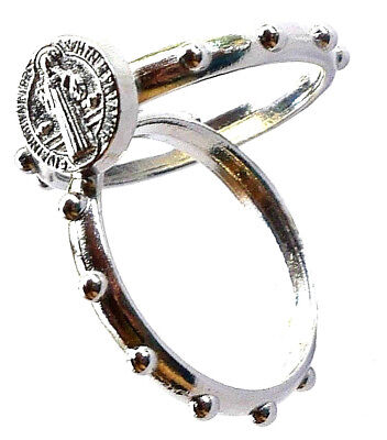 Saint Benedict Small Steel Rosary Ring (Pack of 2)