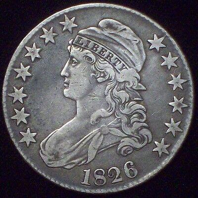 1826 BUST HALF DOLLAR *SILVER* O-117 RARE Authentic - XF Detailing Nice Tone .50