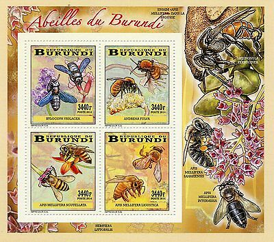 Burundi 2014 MNH Bees 4v Deluxe M/S Insects Flowers Abeilles