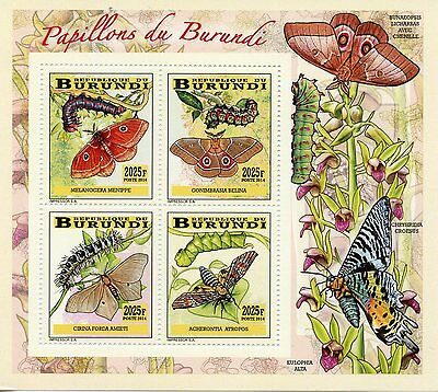 Burundi 2014 MNH Butterflies & Caterpillars 4v Deluxe M/S I Insects Papillons