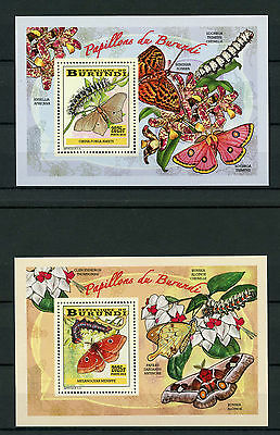 Burundi 2014 MNH Butterflies & Caterpillars 4x Deluxe S/S I Insects Papillons