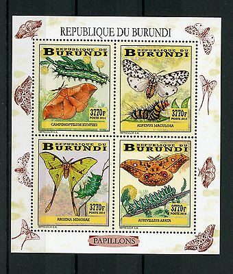 Burundi 2014 MNH Butterflies & Caterpillars 4v M/S II Insects Papillons