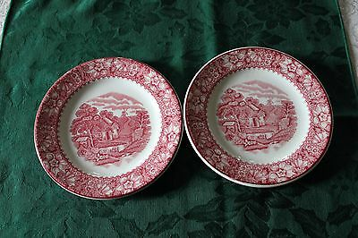 Two 6 Inch Pink Colonial Plates from Wood and Sons