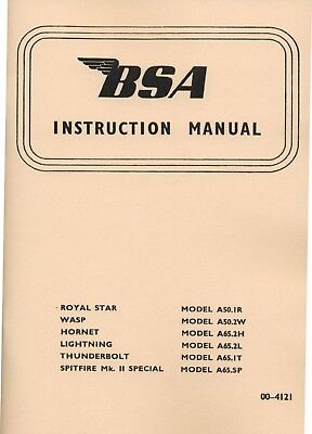 1966-1967 BSA  A50 A65 Instruction Book Spitfire Lightning Thunderbolt RoyalStar