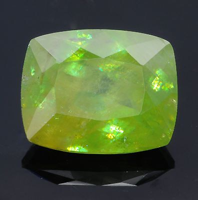 7.3ct BIG Natural Yellow-Green Sphene - 10x13mm Antique Cushion Cut, Nice!