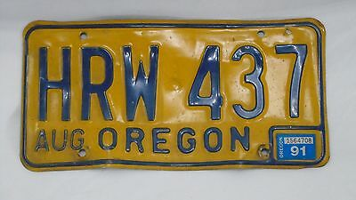 1991 OREGON Classic Blue on Yellow License Plate HRW 437