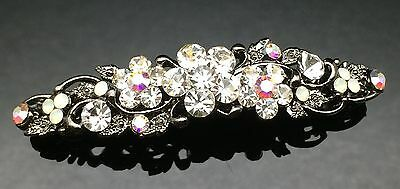 Vintage Formal Bridal Wedding Crystal Hair Comb Clip Barrette 7cm Pin Black Gray