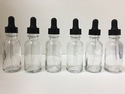 6-Pack - 1oz CLEAR BOSTON ROUND GLASS BOTTLES WITH GLASS DROPPERS 30ml
